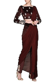 Wine Embroidered Blouse with Pant Saree by Pink Peacock Couture