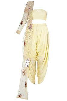 Yellow Bustier and Dhoti Pants with Embroidered One Sided Jacket