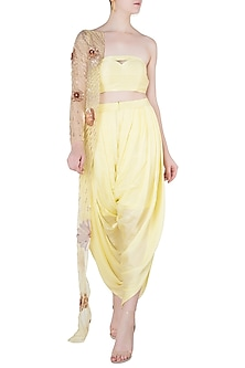 Yellow Bustier and Dhoti Pants with Embroidered One Sided Jacket by Pink Peacock Couture