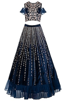 Navy Blue Embroidered Ruffle Crop Top with Lehenga Skirt