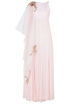 Pink Embroidered Anarkali Gown with Overlay