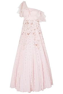 Pink Layered Embroidered Gown