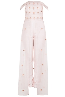 Pink Embroidered Crop Top with Organza Overlayer Pants