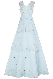 Powder Blue Layered Embroidered Gown