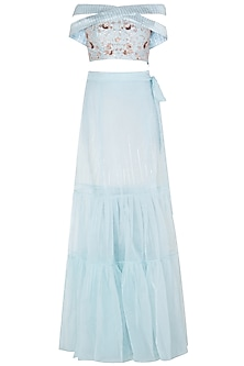 Powder Blue Embroidered Blouse with Pants and Organza Overlayer Skirt