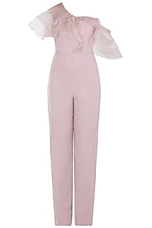 Dusty Pink One Shoulder Ruffles Jumpsuit