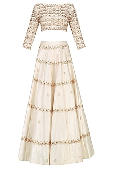 Cream Embroidered Crop Top and Lehenga Set