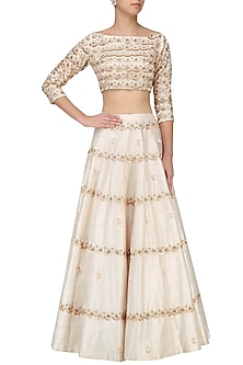 Cream Embroidered Top Lehenga