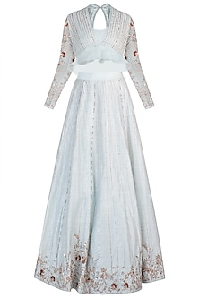 Powder blue embroidered lehenga skirt with blouse