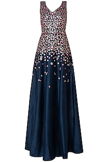 Midnight blue embroidered gown