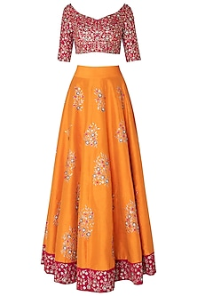 Haldi yellow embroidered lehenga set