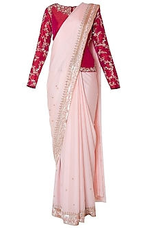Peach embroidered saree with jacket by PINK PEACOCK COUTURE