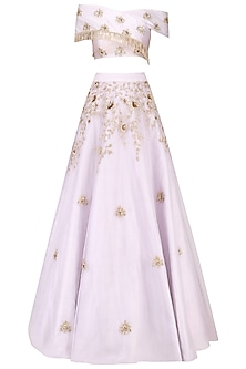 Lilac Cross Shoulder Embroidered Crop Top and Embellished Skirt