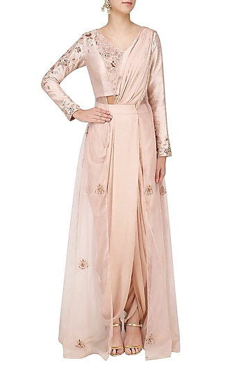 Blush Pink Embroidered Pre Draped Dhoti