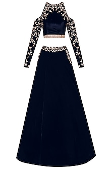 Blue Velvet Cold Shoulder Crop Top and Skirt