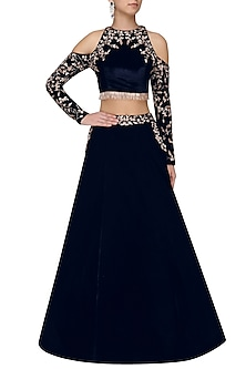 Blue Velvet Cold Shoulder Crop Top