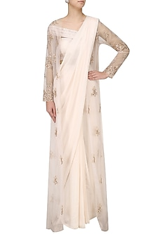 Pink Drape Saree with Embroidered Jacket Overlay by Pink Peacock Couture
