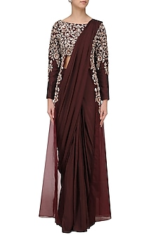 Burgandy Embroidered Jacket Saree by Pink Peacock Couture