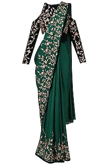 Green Embroidered Saree with Blue Blouse