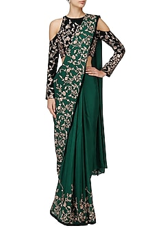 Green Embroidered Saree Blue Blouse