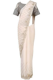 Pink Embroidered Saree with Grey Checks Blouse by Pink Peacock Couture