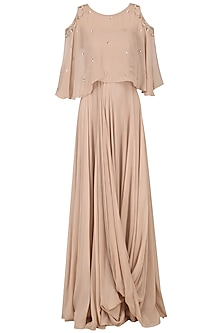 Beige Gown with Embroidered Cape by Pink Peacock Couture