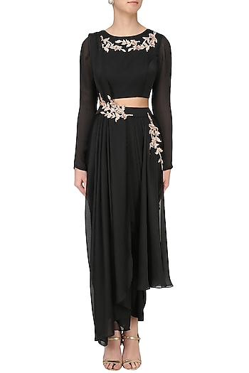 Black Embroidered Dhoti Crop Top Set