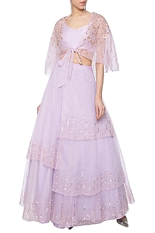 Lilac embroidered lehenga skirt with tube top and cape by Pink Peacock Couture