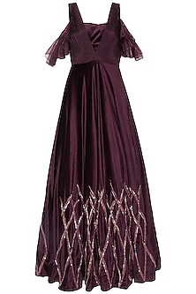 Wine embroidered gown with bustier