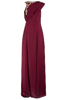 Maroon Embroidered Drape Gown by Pink Peacock Couture