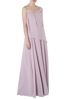 Lilac Embroidered Drape Gown by Pink Peacock Couture