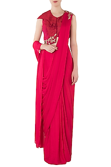 Hot Pink Embroidered Pre-Stitched Saree with Blouse by Pink Peacock Couture