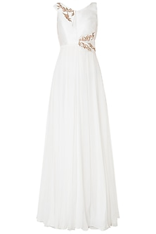 White Embroidered Anarkali Gown by Pink Peacock Couture