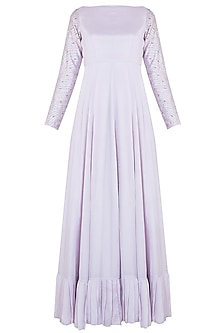 Lilac embroidered anarkali by PINK PEACOCK COUTURE
