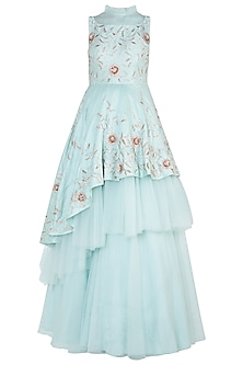 Mint blue embroidered layered gown