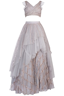 Grey Embroidered Crop Top with Lehenga Skirt