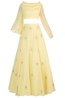 Yellow Embroidered Crop Top with Lehenga Skirt