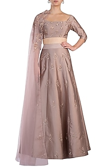 Blush Pink Embroidered Lehenga Set by Pink Peacock Couture