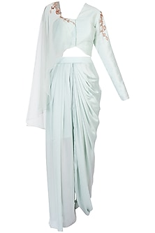 Mint Blue Embroidered Crop Top with Dhoti Pants