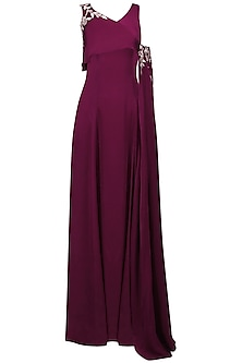 Cranberry Embroidered Gown