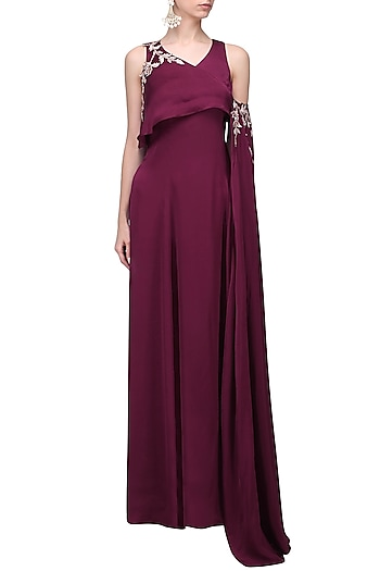 b20e961db1 Cranberry embroidered gown available only at Pernia s Pop Up Shop.