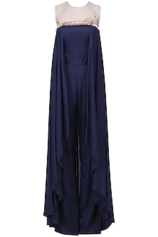 Navy Blue Embroidered Drape Jumpsuit by Pink Peacock Couture