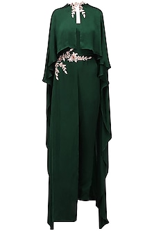 Green Embroidered Cape Jumpsuit by Pink Peacock Couture