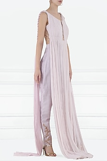 Lilac Embroidered Crop Top with Straight Pants by Pink Peacock Couture