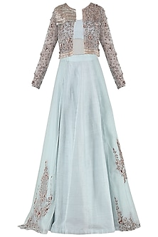 Light Blue Embroidered Lehenga Set with Jacket