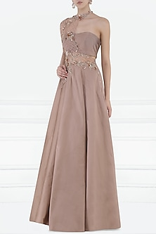 Blush Pink Embroidered One Shoulder Gown with Bustier by Pink Peacock Couture