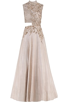 Baby Pink Embroidered Cutout Gown