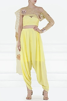 Yellow Embroidered Bustier with Dhoti Pants by Pink Peacock Couture