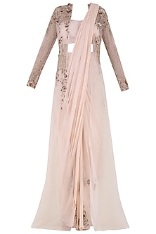 Peach Embroidered Pre-Stitched Saree with Bustier and Jacket