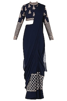 Navy Blue Embroidered Pre-Stitched Saree with Blouse